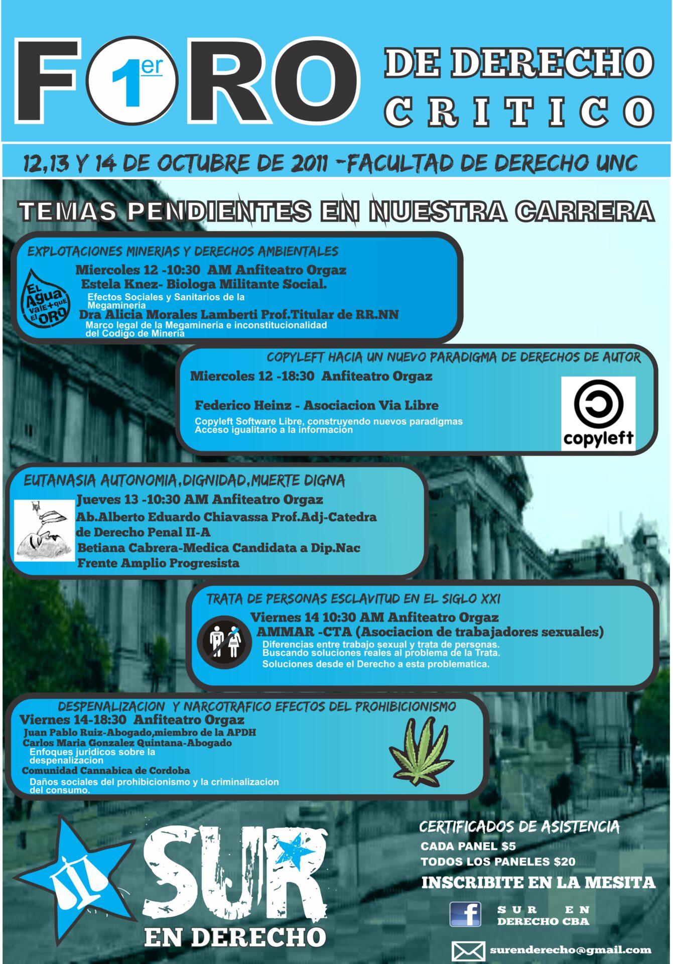 """Afiche """"Primeras Jornadas de Derecho Crítico"""""""
