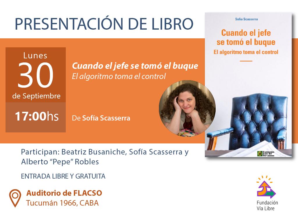 Invitación presentacion del libro de Sofia Scasserra