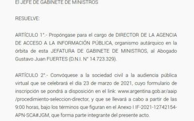 Más observaciones a la candidatura de Gustavo Fuertes como Director de la Agencia de Acceso a la Información Pública