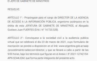Presentamos Observaciones a la candidatura para la Agencia de Acceso a la Información Pública